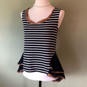 Anthropologie striped sleeveless top with ruffle